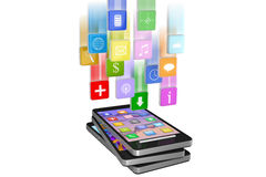 Smartphone with cloud of application icons in move isolated Stock Photos