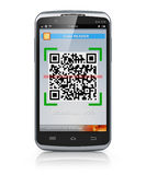 Smartphone scanning QR code Stock Images