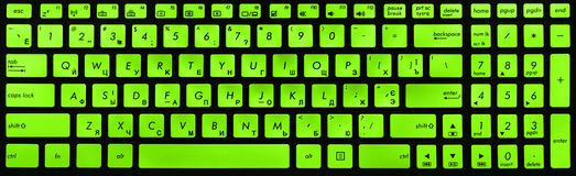 Modern black and green laptop keyboard Stock Photo