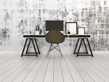 Modern black and grey office interior. With a trestle desk with desktop monitor, chair and blank picture frames on a bare hardwood floor against an abstract Stock Image
