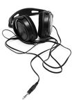 Modern black headphones Royalty Free Stock Images