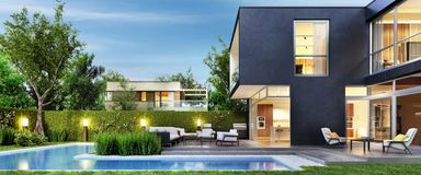 Modern black house with patio and pool. Evening view. Interior and exterior. Modern black house with patio and pool. Evening view stock illustration