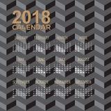 2018 Modern Black Illusion Pattern Printable Calendar Starts Sunday. Vector Illustration Stock Photos