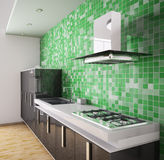 Modern black kitchen interior 3d Royalty Free Stock Image