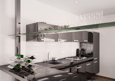 Modern black kitchen interior 3d render Stock Images