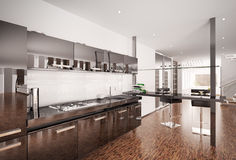 Modern black kitchen interior 3d render Royalty Free Stock Photos