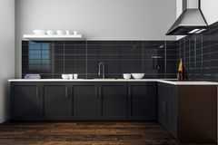Modern black kitchen interior. Style and design concept. 3D Rendering Royalty Free Stock Images
