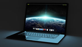 Modern black laptop on black background 3D rendering Stock Image