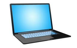 Modern black laptop on white background 3D rendering. Modern digital black and blue laptop on white background 3D rendering Stock Images