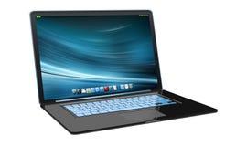 Modern black laptop on white background 3D rendering Royalty Free Stock Image