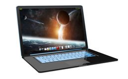 Modern black laptop on white background 3D rendering Royalty Free Stock Images