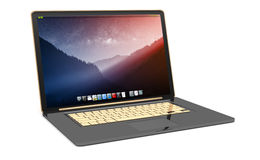 Modern black laptop on white background 3D rendering. Modern digital black and gold laptop on white background 3D rendering Royalty Free Stock Photo