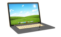Modern black laptop on white background 3D rendering. Modern digital black and gold laptop on white background 3D rendering Royalty Free Stock Images