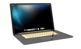 Modern black laptop on white background 3D rendering. Modern digital black and gold laptop on white background 3D rendering Stock Image
