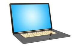 Modern black laptop on white background 3D rendering. Modern digital black and gold laptop whith blue screen 3D rendering Stock Photo