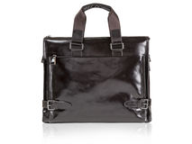 Modern black leather men casual or business briefcase. Royalty Free Stock Photos