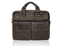 Modern black leather men casual or business briefcase isolated. Stock Photo