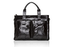 Modern black leather men casual or business briefcase. Royalty Free Stock Photo