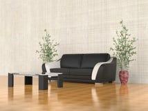 Modern black leather sofa Royalty Free Stock Photography