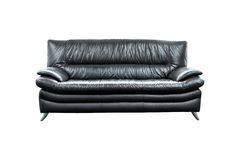 Modern black leather sofa isolated on white background. Modern black leather sofa  on white background Royalty Free Stock Photo