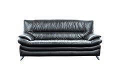 Modern black leather sofa isolated on white background Royalty Free Stock Photo