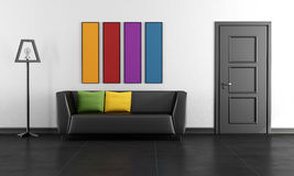 Modern black lounge with colorful paintings Stock Images
