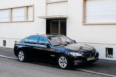 Modern black luxury BMW hybrid limousine car Royalty Free Stock Photo