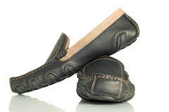 Modern black mens shoes moccasins Stock Image