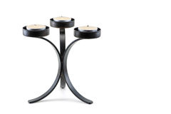 Modern black metal candle holder Royalty Free Stock Photography