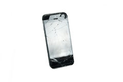 Modern black mobile phone with broken screen isolated on white background Royalty Free Stock Photography