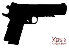 Modern black pistol silhouette isolated on white Stock Images