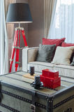Modern black and red lamp with luxury sofa in luxury living room Stock Photos