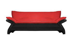 Modern black and red leather sofa isolated on Stock Image