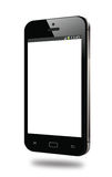 Modern black smart phone white screen   Stock Photography