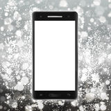 Modern black smartphone with touch screen on light background. A Stock Photography