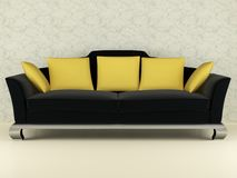 Modern black sofa indoor Stock Photography
