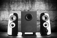 Modern black sound speakers Royalty Free Stock Photography