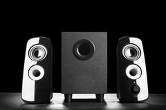 Modern black sound speakers Stock Images
