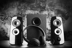 Modern black sound speakers Stock Photography