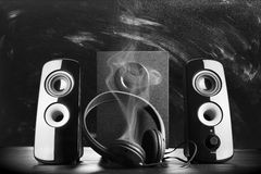 Modern black sound speakers Stock Photo