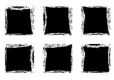Modern black square stain frames collection templates. Distressed labels and badges set. Vector illustration Stock Photos