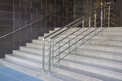 Modern black stairs and metal handrail Royalty Free Stock Photo