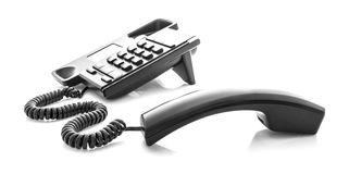 Modern black telephone on whiteet Royalty Free Stock Photo