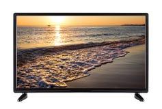 Modern black TV with  sea landscape Stock Photo