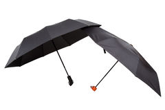 Modern black umbrellas in the unfolded form. Stock Photography