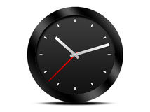 Modern Black wall clock. Isolated on white background Royalty Free Stock Photography
