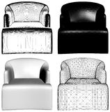 Modern Black And White Armchairs Vector 15. Modern Black And White Armchairs On White Isolated Illustration Vector Stock Photography