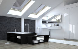 Modern Black and White Bathroom with Skylights Royalty Free Stock Photography