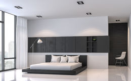 Modern black and white bedroom interior minimal style 3d rendering image Stock Photography