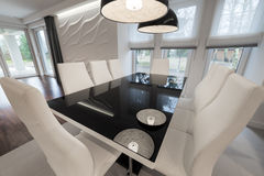 Modern black and white dinning table stock image